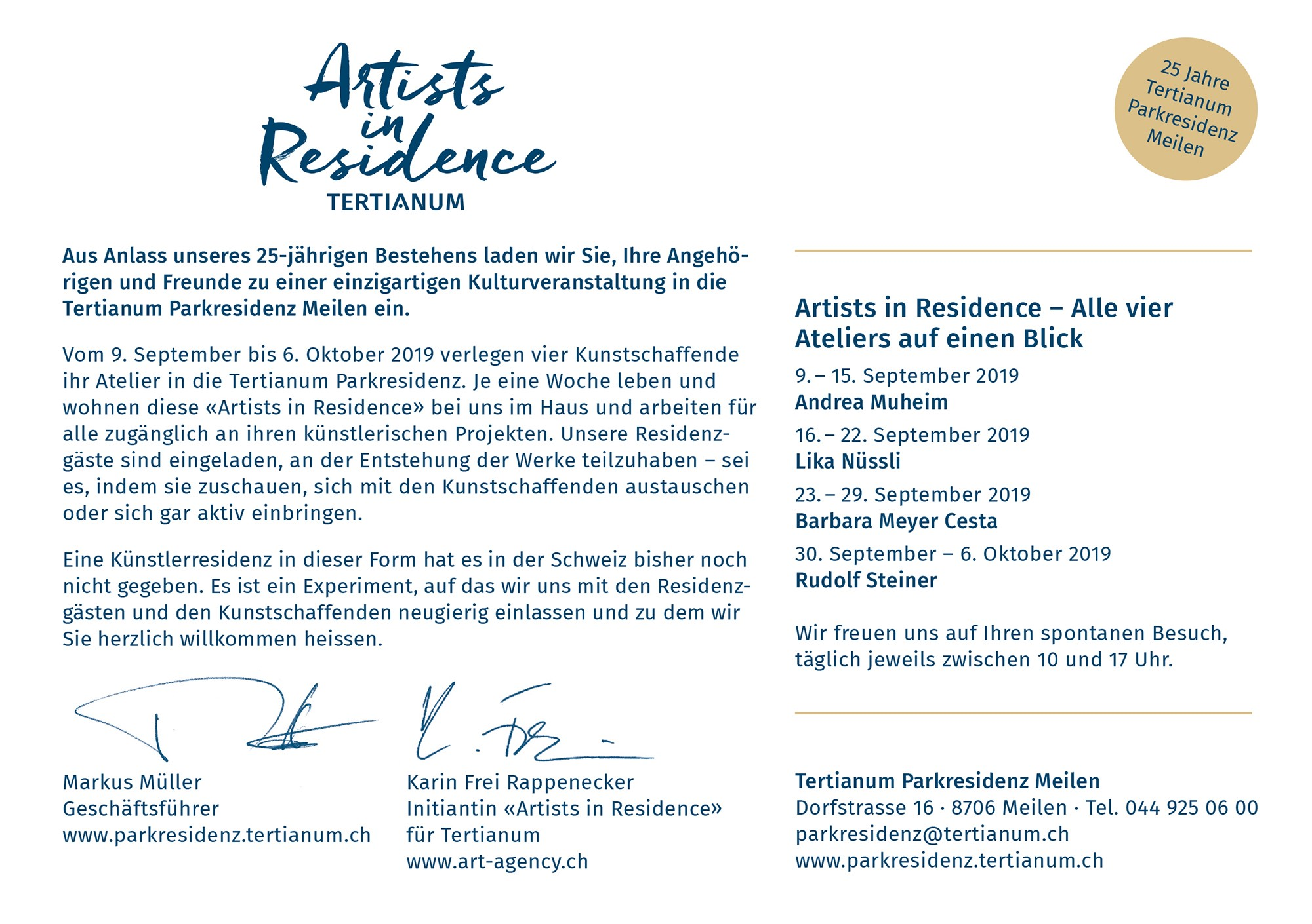 Artists in Residence; Tertianum; Parkresidenz; Meilen