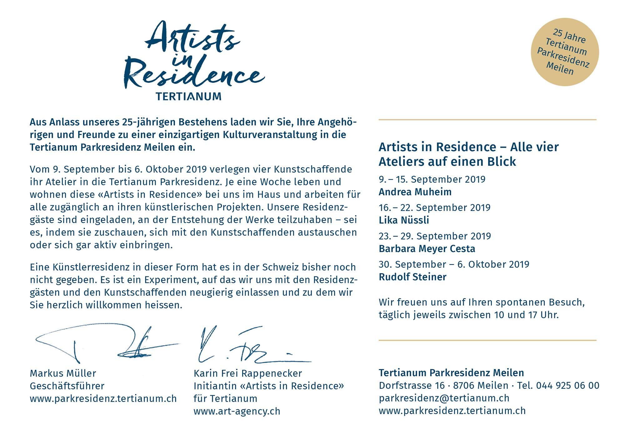 Artists in Residence; Tertianum; Parkresidenz; Meilen